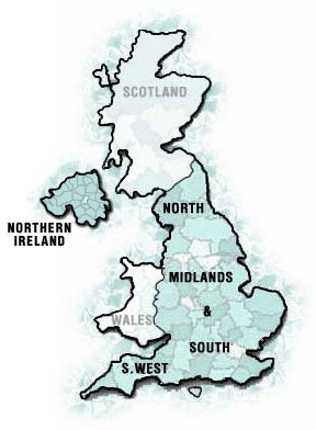 UK Map - Click on a region